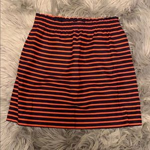 J.Crew navy and orange elastic waist skirt